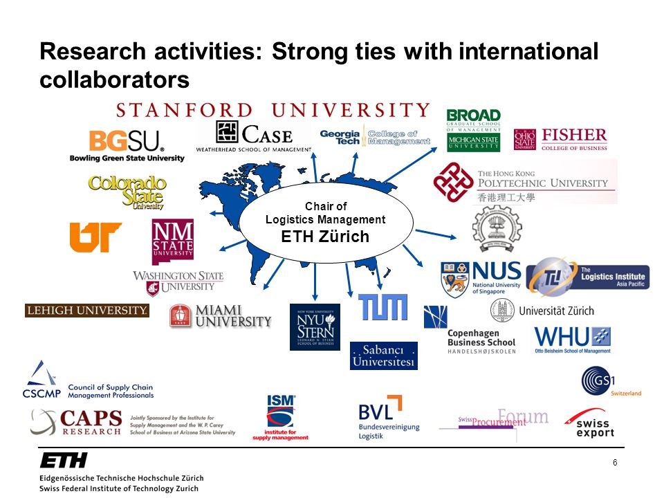 6 Research activities: Strong ties with international collaborators Chair of Logistics Management ETH Zürich