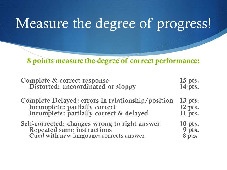 Measure the degree of progress.