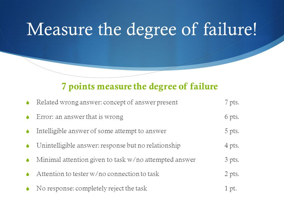 Measure the degree of failure.