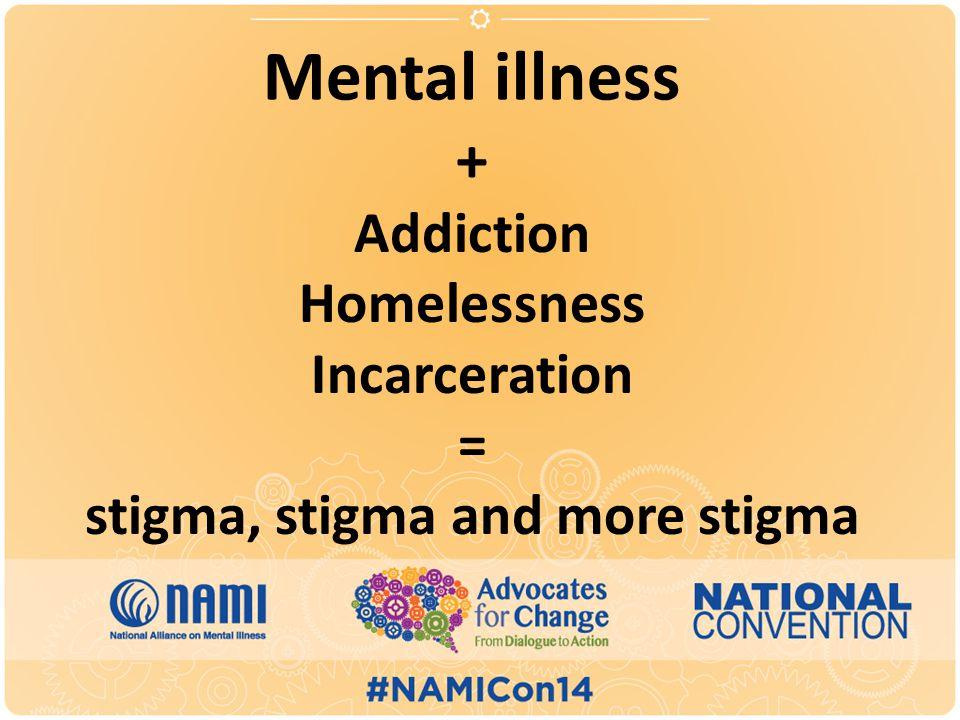 Mental illness + Addiction Homelessness Incarceration = stigma, stigma and more stigma