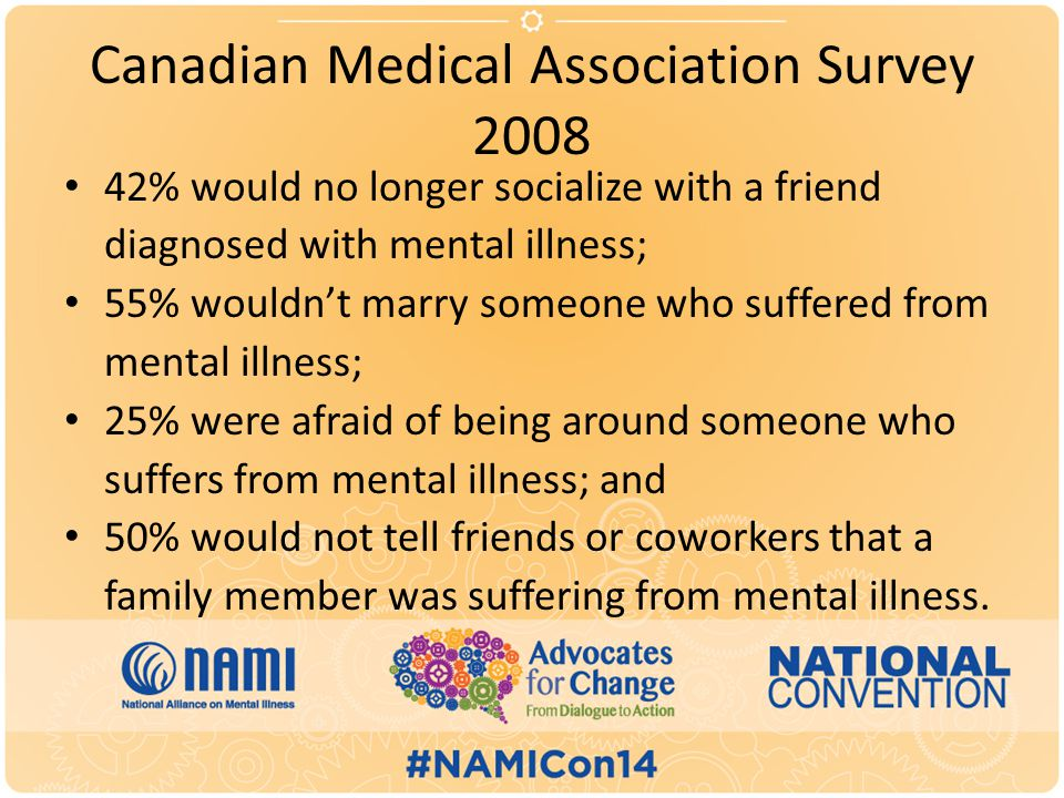 Canadian Medical Association Survey 2008 42% would no longer socialize with a friend diagnosed with mental illness; 55% wouldn't marry someone who suffered from mental illness; 25% were afraid of being around someone who suffers from mental illness; and 50% would not tell friends or coworkers that a family member was suffering from mental illness.