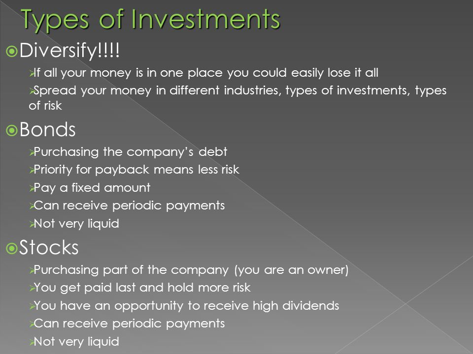 Types of Investments  Diversify!!!.