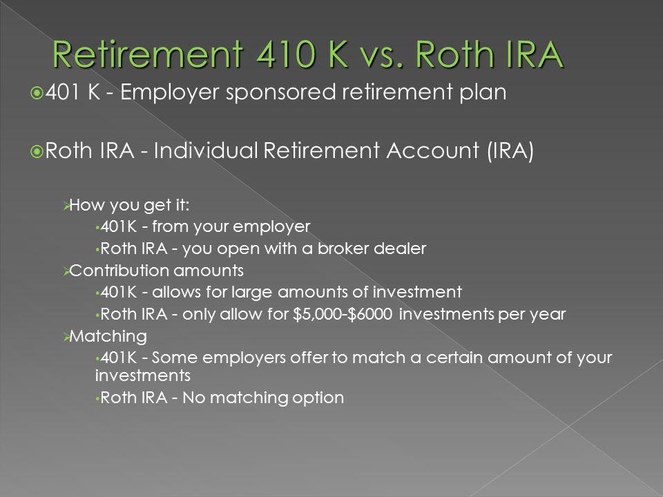 Retirement 410 K vs.