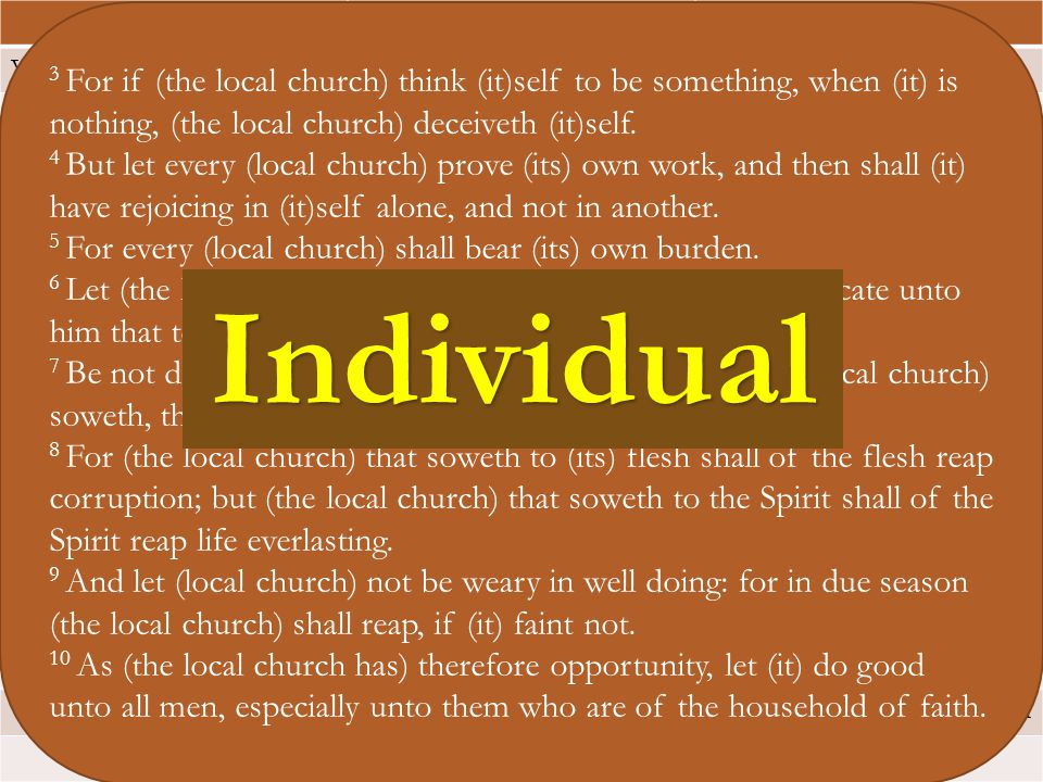 Church or Individual? John 15Galatians 6James 1 V2: every branchV1: if a man be..ye restore..V12: man that endureth….he V3: ye are clean…spoke unto yo