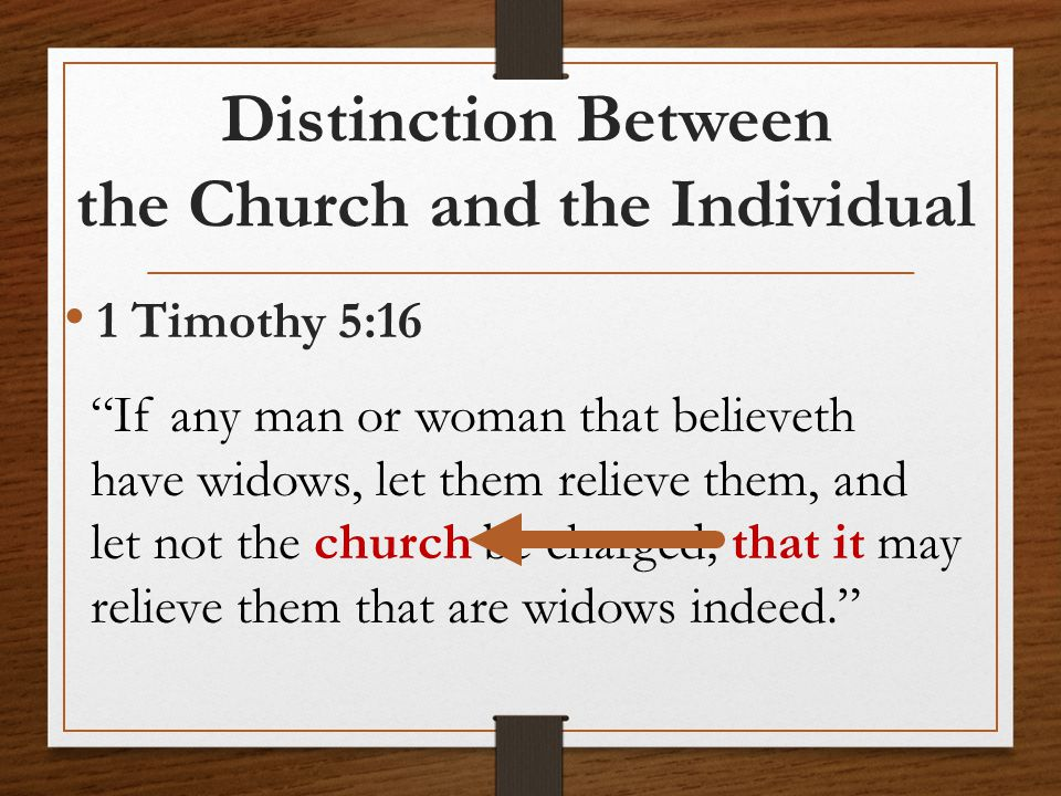 Distinction Between the Church and the Individual 1 Timothy 5:16 If any man or woman that believeth have widows, let them relieve them, and let not the church be charged; that it may relieve them that are widows indeed.