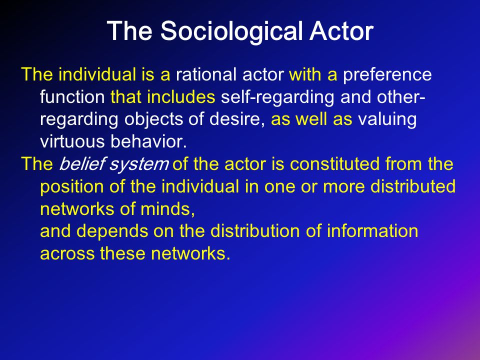 The Sociological Actor The individual is a rational actor with a preference function that includes self-regarding and other- regarding objects of desi