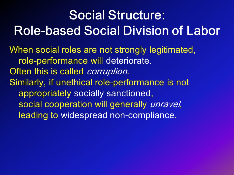 Social Structure: Role-based Social Division of Labor When social roles are not strongly legitimated, role-performance will deteriorate. Often this is