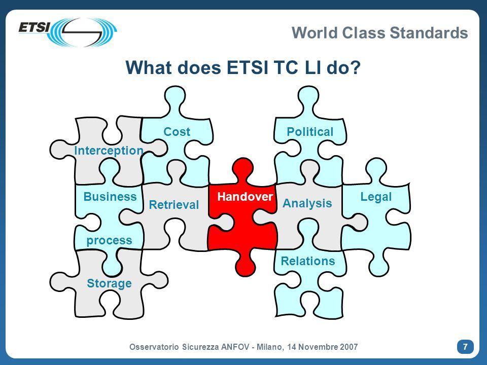 World Class Standards Osservatorio Sicurezza ANFOV - Milano, 14 Novembre 2007 8  Law Enforcement Agencies / Governments organisations  NL, UK, DE, AS, S, GR, ES, FR, RU, FIN, IT, NO, CY, HU  USA, CA, AU, KR  Operators  KPN (NL), DT (DE), BT (UK), TeliaSonera (S), Inmarsat, Telenor (NO), UPC, Telecom Italia, Telstra (AU), T-Mobile (DE), Vodafone (DE)  Manufacturers (switch)  Nokia Siemens Networks, Ericsson, Cisco, Alcatel Lucent, Nortel, Marconi, Motorola  Manufacturers (mediation / LEA equipment)  Pine Digital Security, Aqsacom, ETI, VeriSign, Siemens, GTEN, Utimaco Safeware, Verint, Detica, NICE Systems, Thales, AREA, ATIS Systems, SS8, Spectronic, Group 2000, ZTE Manufacturers may be active in all areas Participation in ETSI TC LI