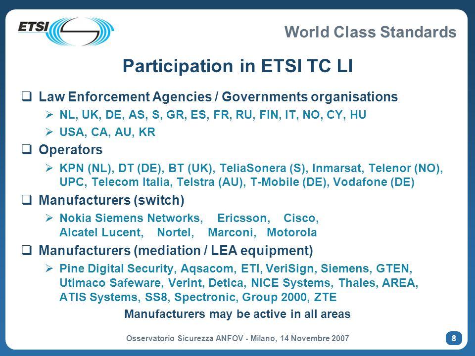 World Class Standards Osservatorio Sicurezza ANFOV - Milano, 14 Novembre 2007 19 Basic IP Multimedia message exchange (TR 102 528)