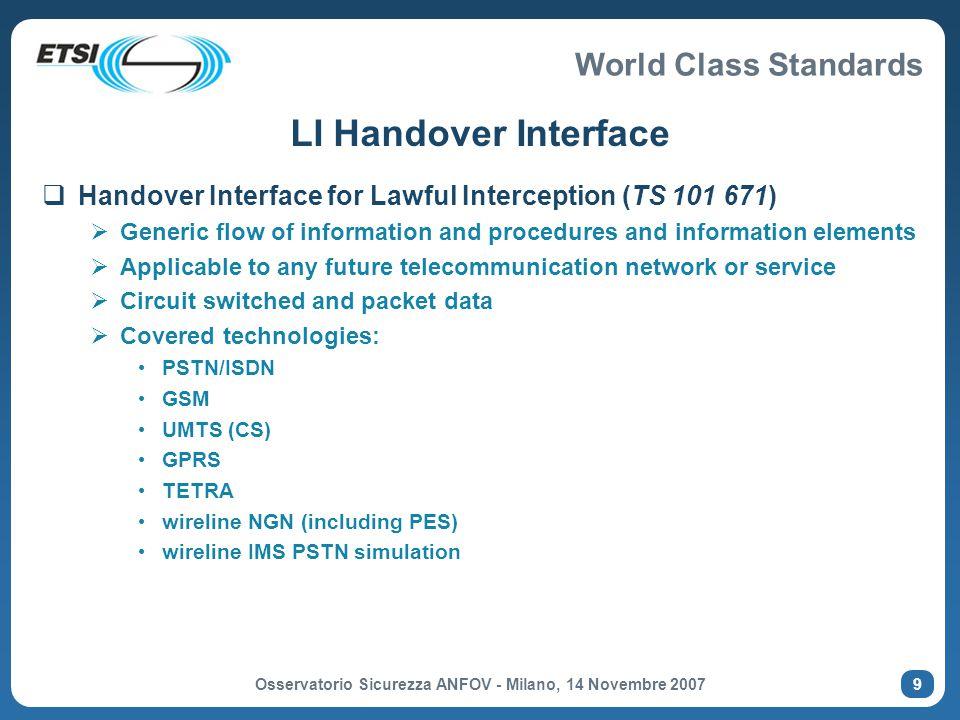 World Class Standards Osservatorio Sicurezza ANFOV - Milano, 14 Novembre 2007 10 The ETSI LI Model