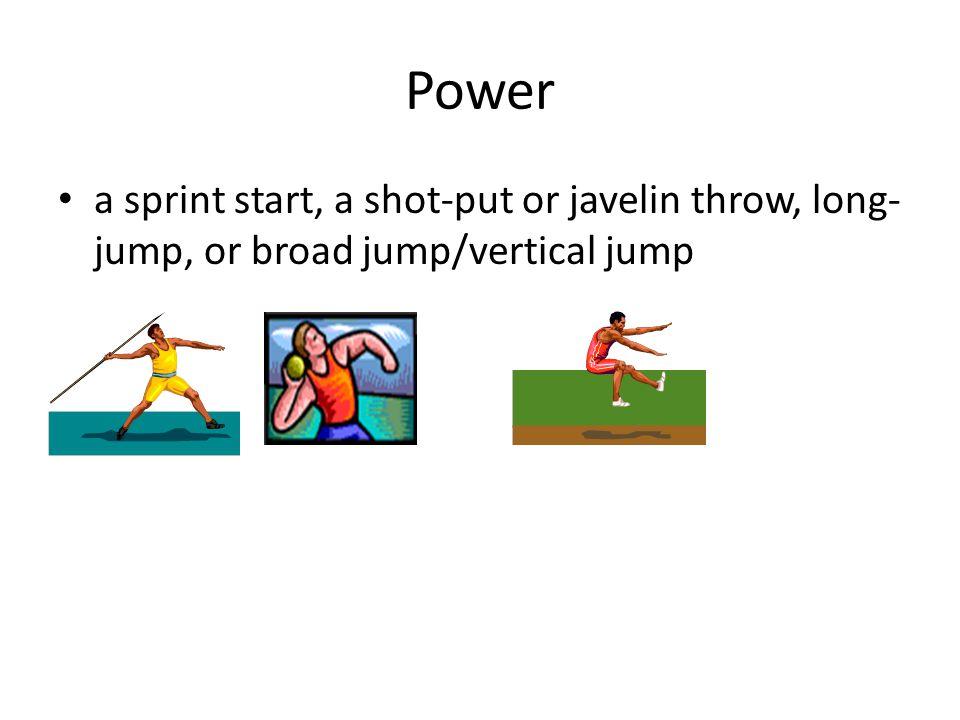 Power a sprint start, a shot-put or javelin throw, long- jump, or broad jump/vertical jump
