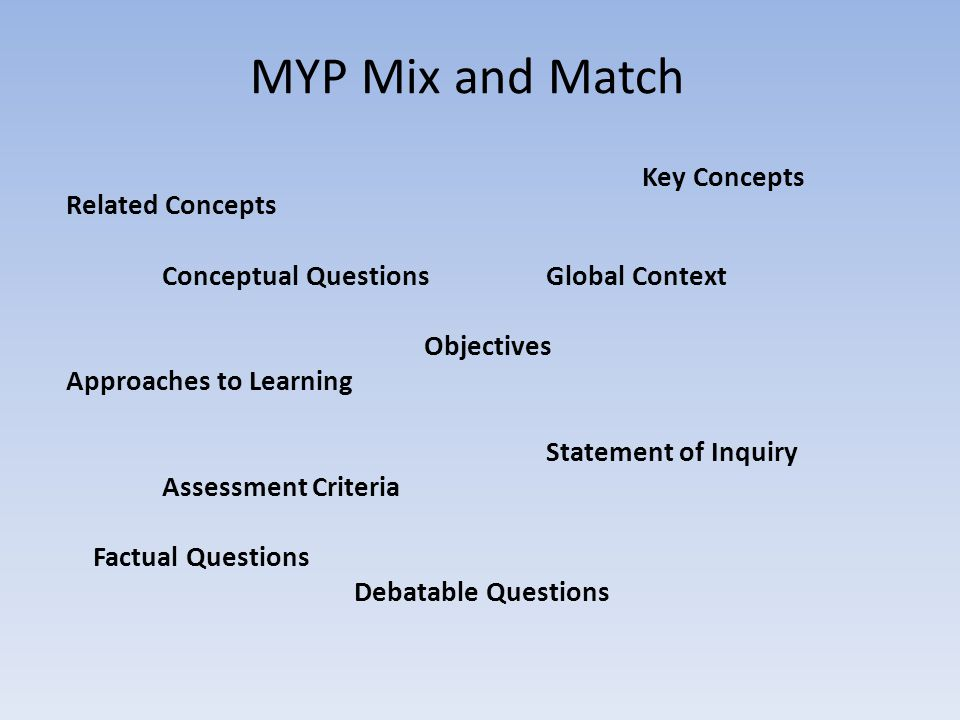 MYP Mix and Match Key Concepts Related Concepts Conceptual Questions Global Context Objectives Approaches to Learning Statement of Inquiry Assessment