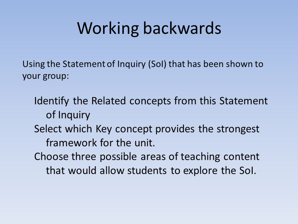 Working backwards Using the Statement of Inquiry (SoI) that has been shown to your group: Identify the Related concepts from this Statement of Inquiry