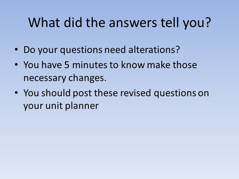 What did the answers tell you? Do your questions need alterations? You have 5 minutes to know make those necessary changes. You should post these revi