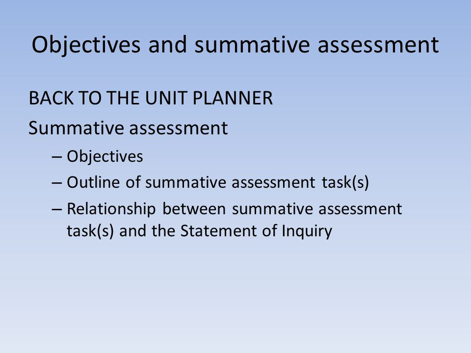 Objectives and summative assessment BACK TO THE UNIT PLANNER Summative assessment – Objectives – Outline of summative assessment task(s) – Relationshi
