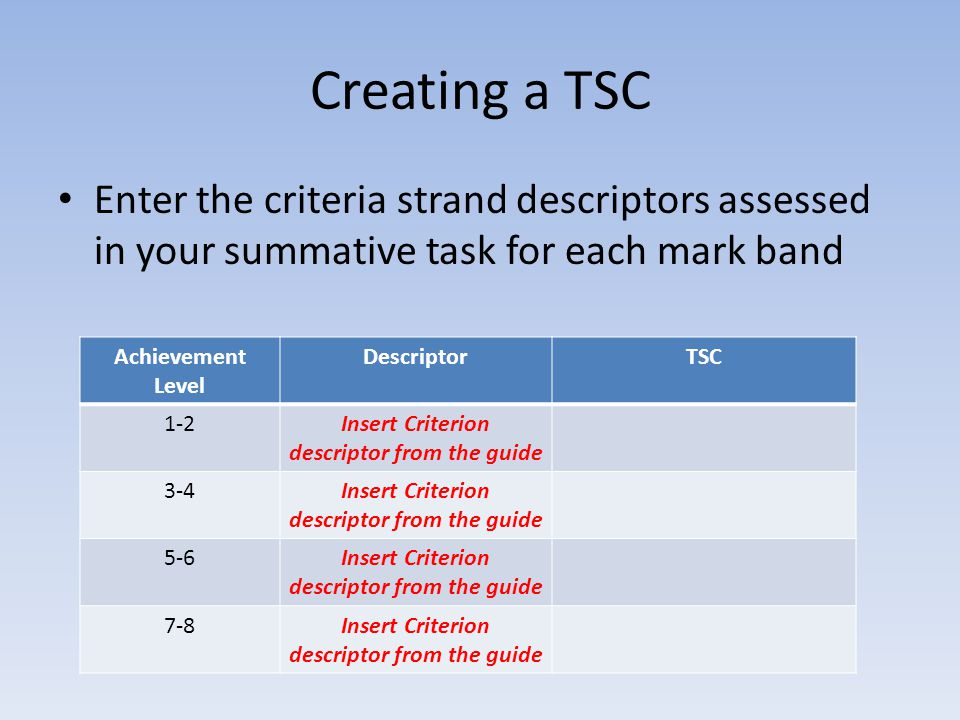 Creating a TSC Enter the criteria strand descriptors assessed in your summative task for each mark band Achievement Level DescriptorTSC 1-2Insert Crit