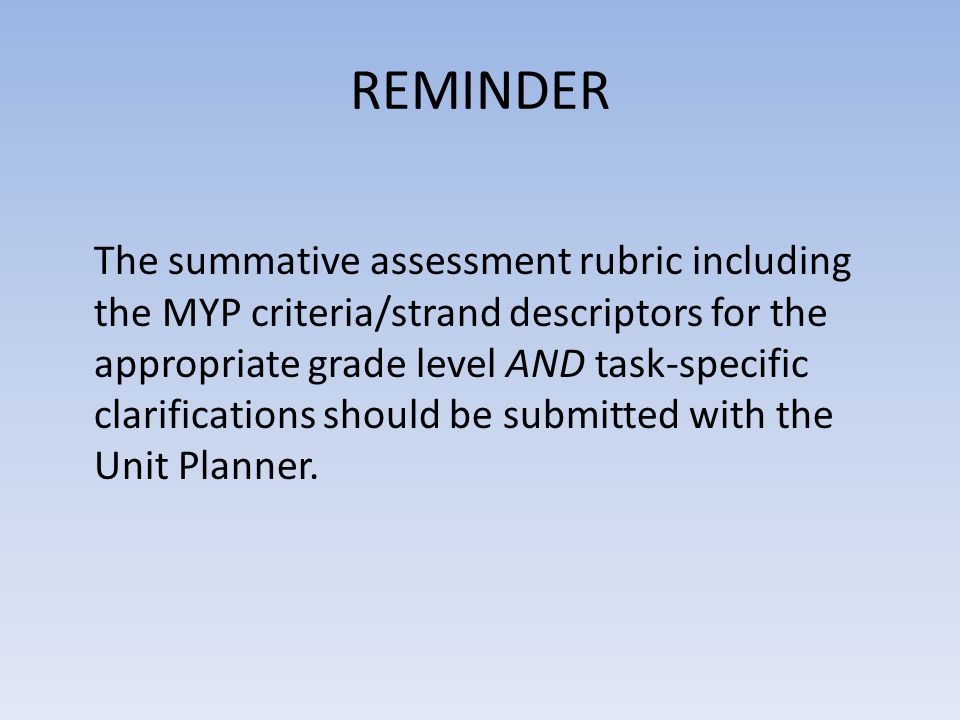 REMINDER The summative assessment rubric including the MYP criteria/strand descriptors for the appropriate grade level AND task-specific clarification