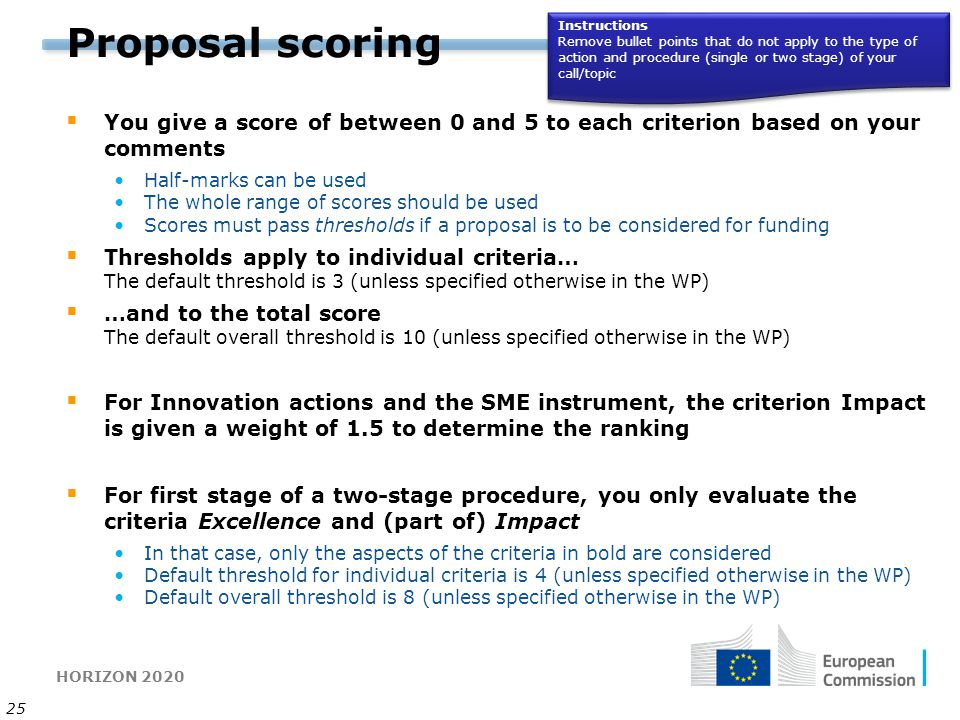 HORIZON 2020 25 Proposal scoring  You give a score of between 0 and 5 to each criterion based on your comments Half-marks can be used The whole range