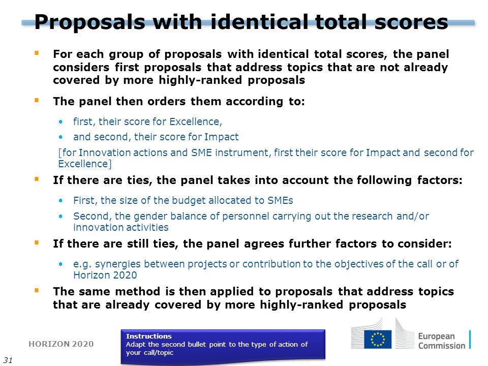 HORIZON 2020 31 Proposals with identical total scores  For each group of proposals with identical total scores, the panel considers first proposals t