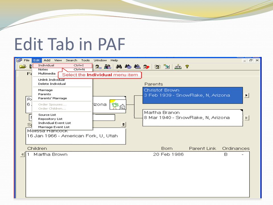 Edit Tab in PAF