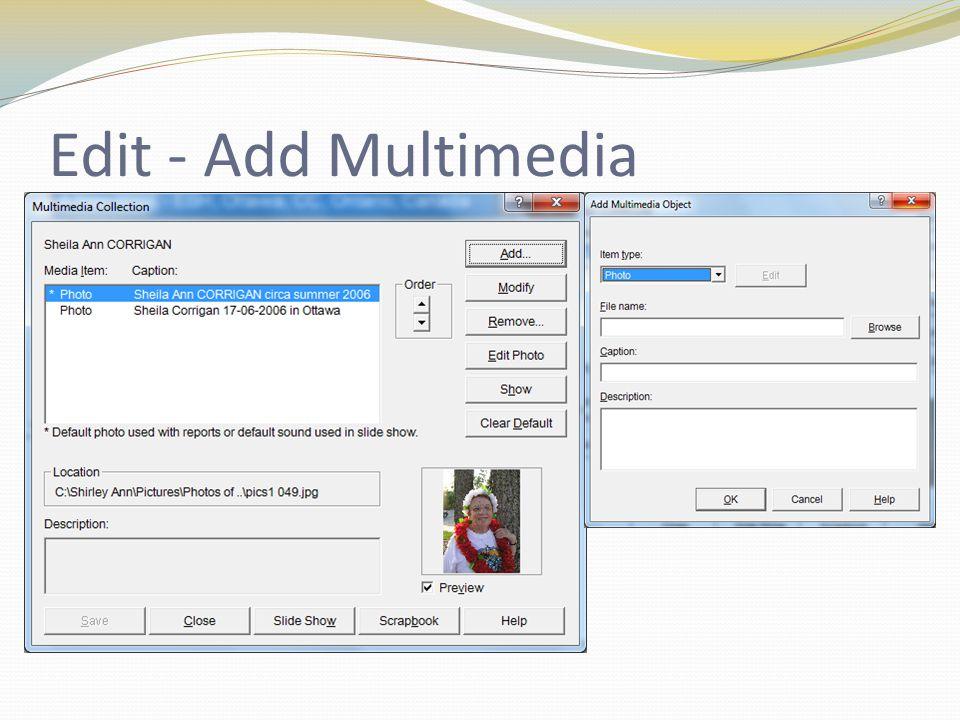 Edit - Add Multimedia