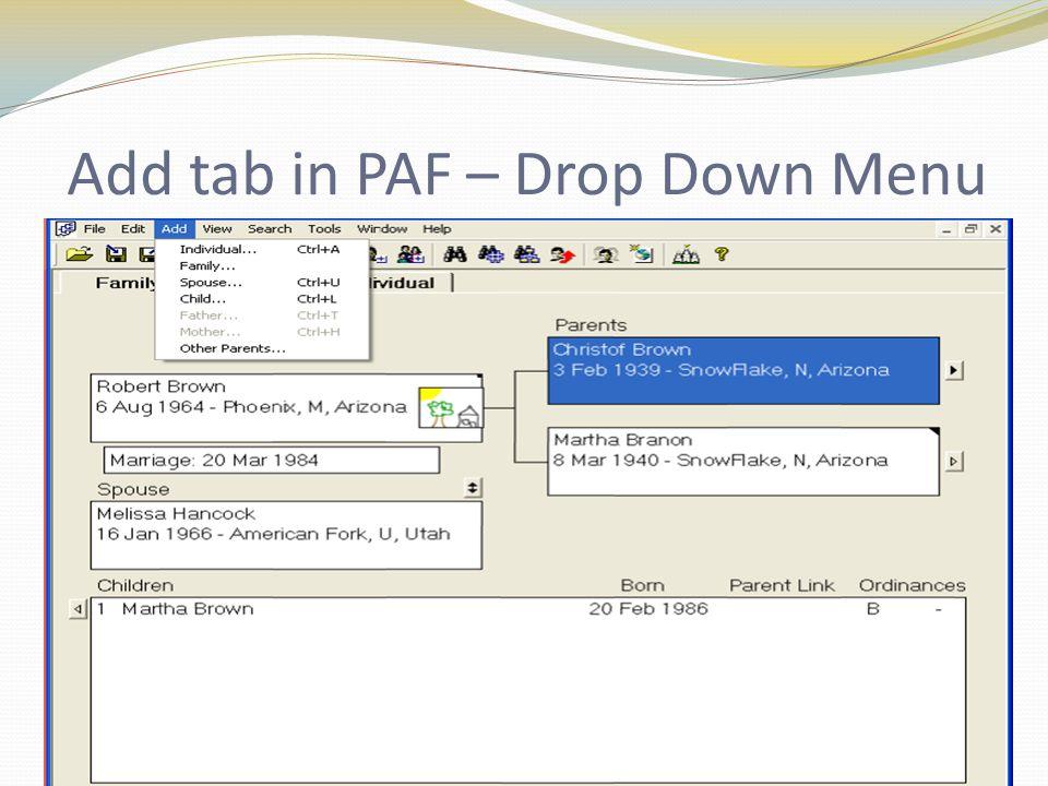 Add tab in PAF – Drop Down Menu