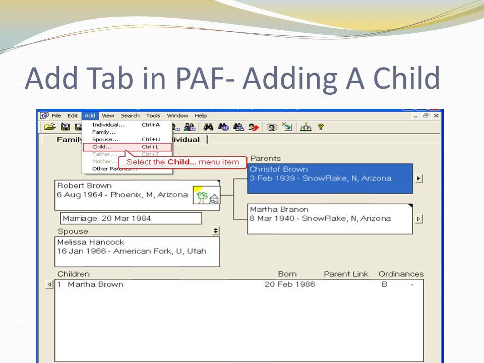Add Tab in PAF- Adding A Child