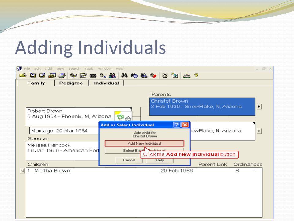 Adding Individuals