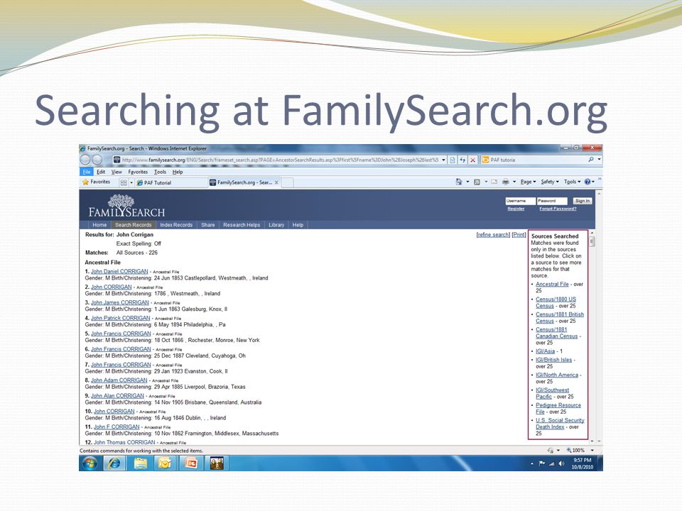 Searching at FamilySearch.org