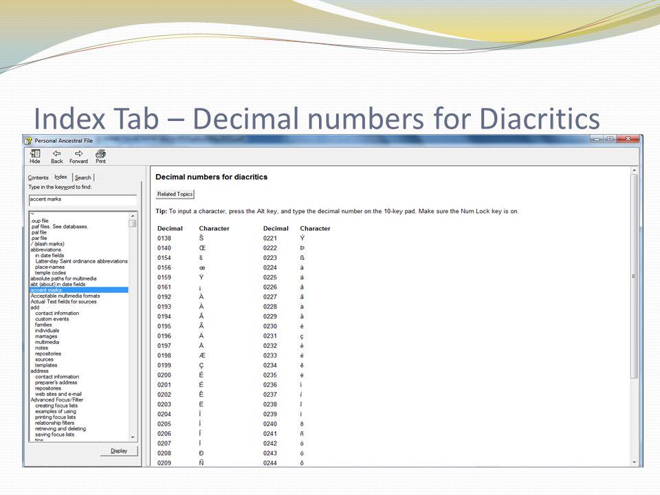 Index Tab – Decimal numbers for Diacritics