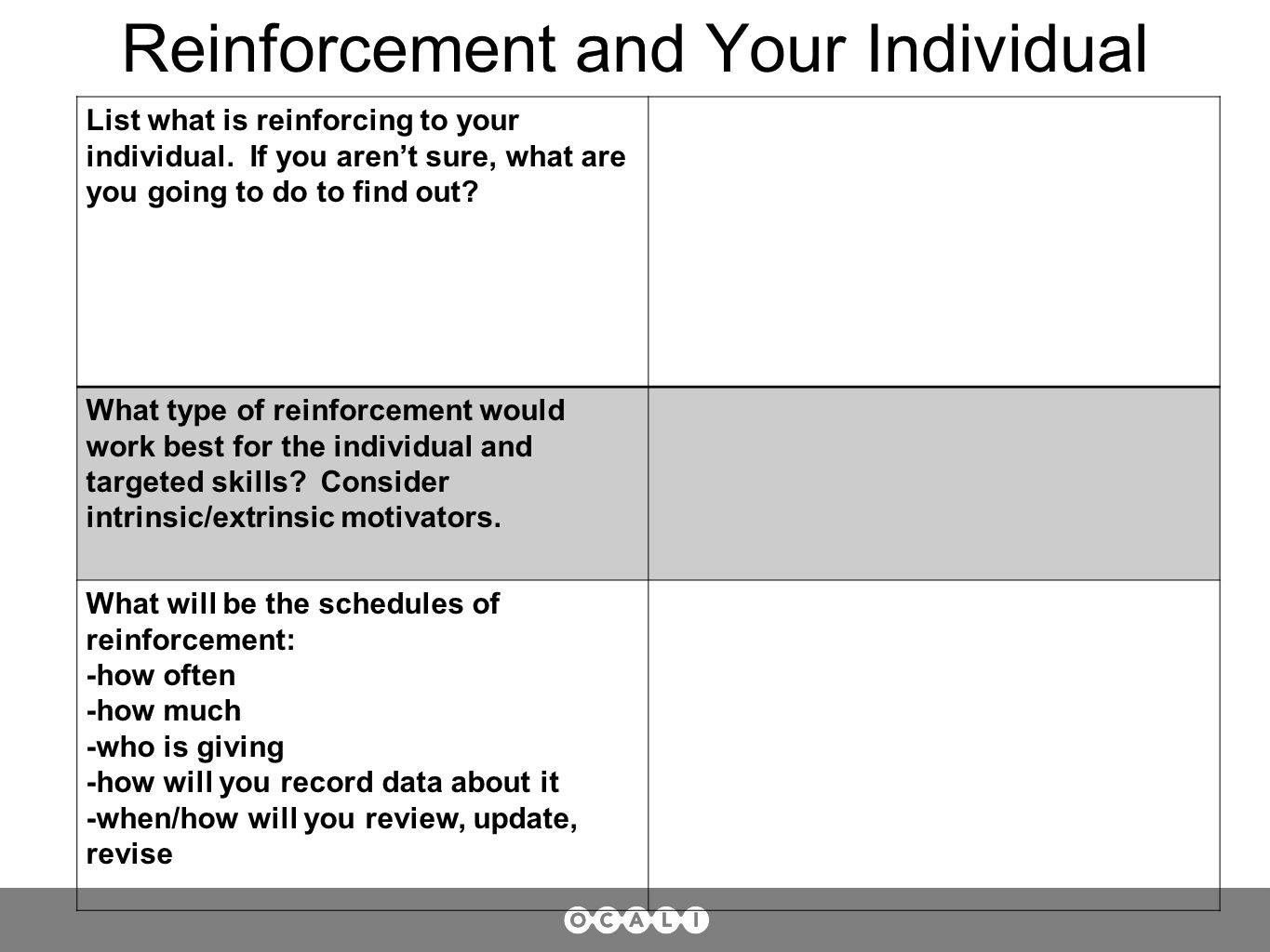 Reinforcement and Your Individual List what is reinforcing to your individual.