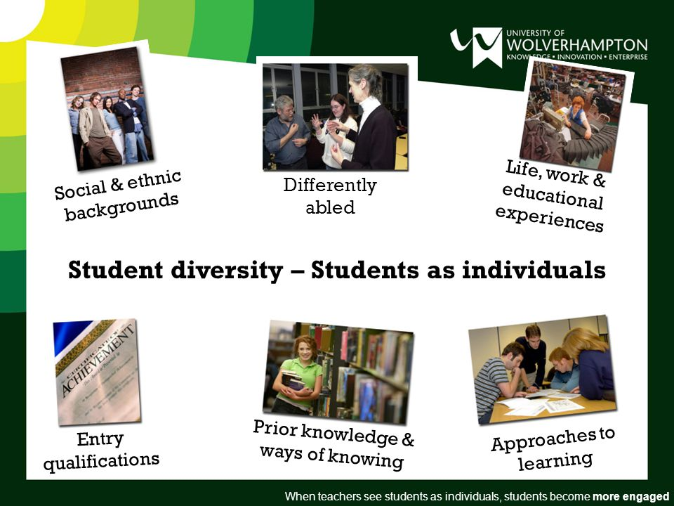 Student diversity – Students as individuals Social & ethnic backgrounds Differently abled Life, work & educational experiences Entry qualifications Prior knowledge & ways of knowing Approaches to learning When teachers see students as individuals, students become more engaged