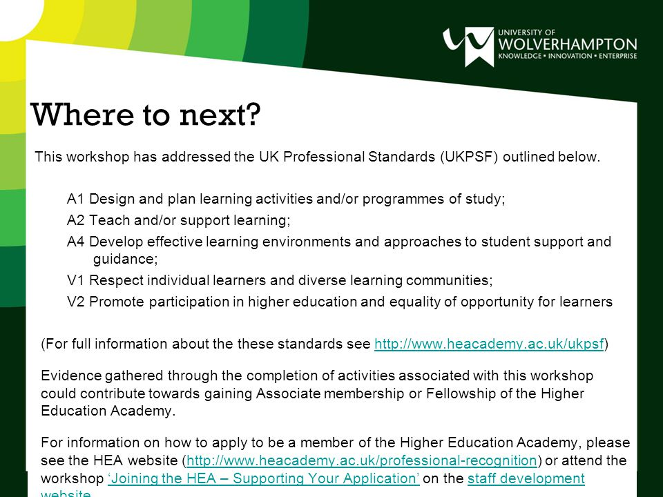 Where to next. This workshop has addressed the UK Professional Standards (UKPSF) outlined below.