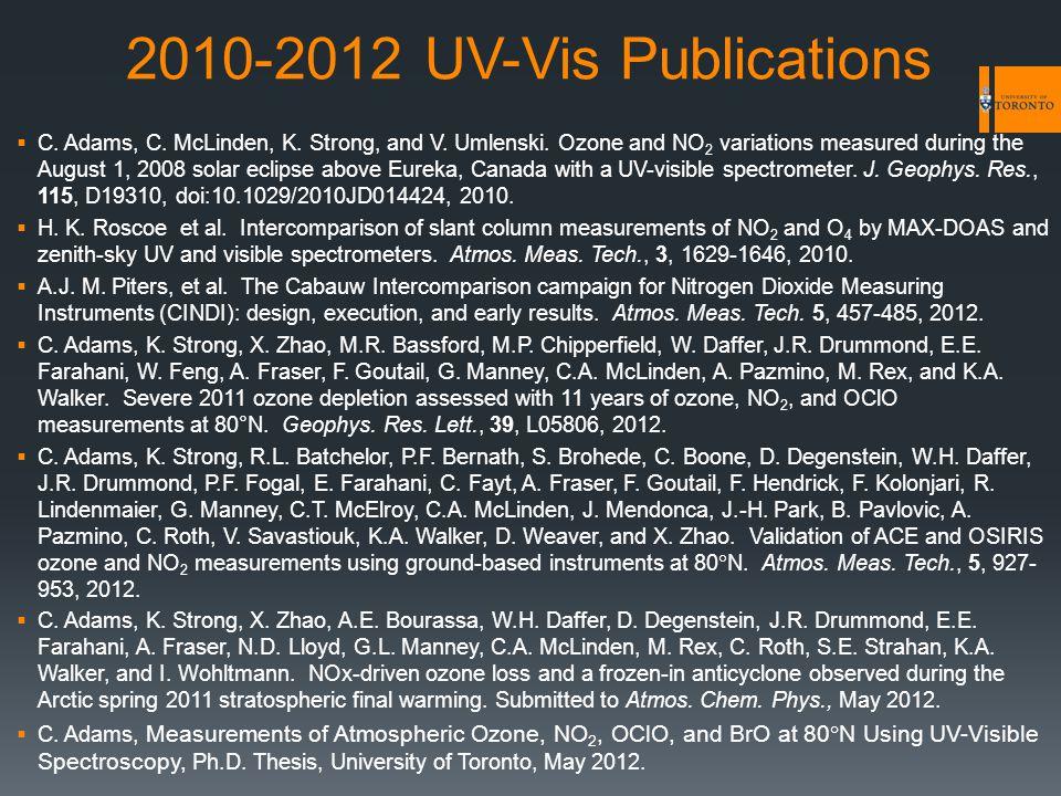 2010-2012 UV-Vis Publications  C. Adams, C. McLinden, K.