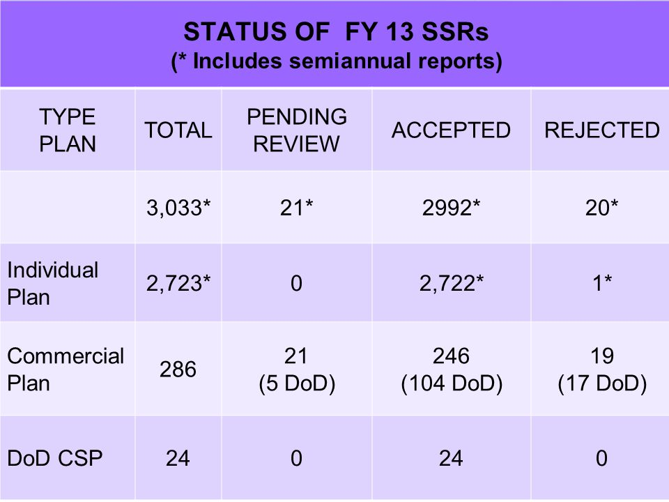 7 STATUS OF FY 13 SSRs (* Includes semiannual reports) TYPE PLAN TOTAL PENDING REVIEW ACCEPTEDREJECTED 3,033*21*2992*20* Individual Plan 2,723*02,722*