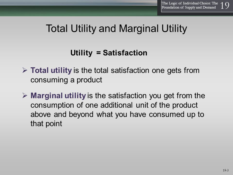 1 The Logic of Individual Choice: The Foundation of Supply and Demand 19 19-3 Total Utility and Marginal Utility  Marginal utility is the satisfaction you get from the consumption of one additional unit of the product above and beyond what you have consumed up to that point Utility = Satisfaction  Total utility is the total satisfaction one gets from consuming a product
