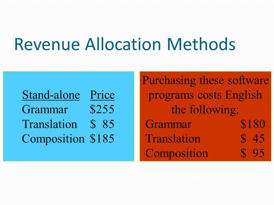 Revenue Allocation Methods Bundle (Suites)Price Grammar + Translation$290 Grammar + Composition$350 Grammar + Translation + Composition$410