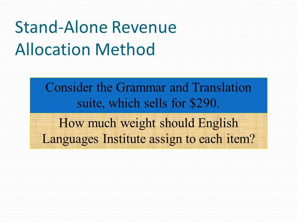 Stand-Alone Revenue Allocation Method Selling prices: The individual selling prices are $255 for Grammar and $85 for Translation.