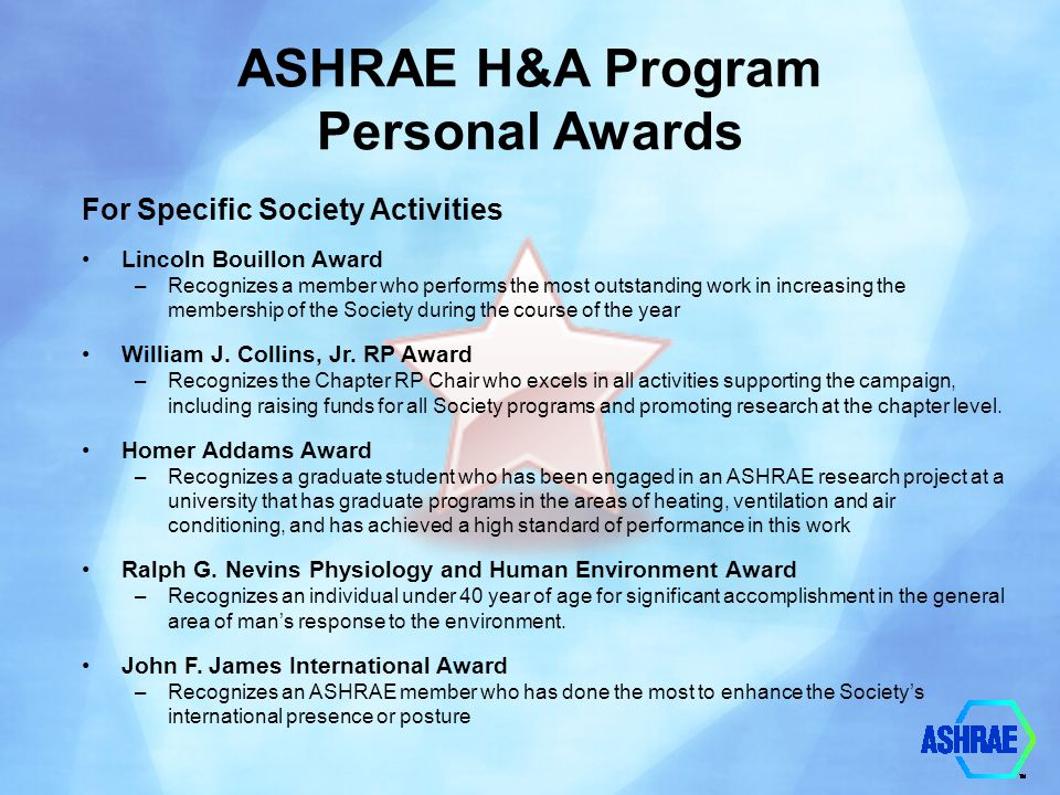 ASHRAE H&A Program Personal Awards For Specific Society Activities Lincoln Bouillon Award –Recognizes a member who performs the most outstanding work