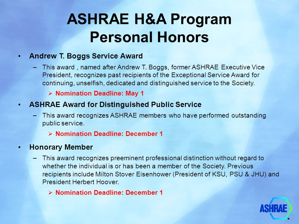 ASHRAE H&A Program Personal Honors Andrew T. Boggs Service Award –This award, named after Andrew T. Boggs, former ASHRAE Executive Vice President, rec