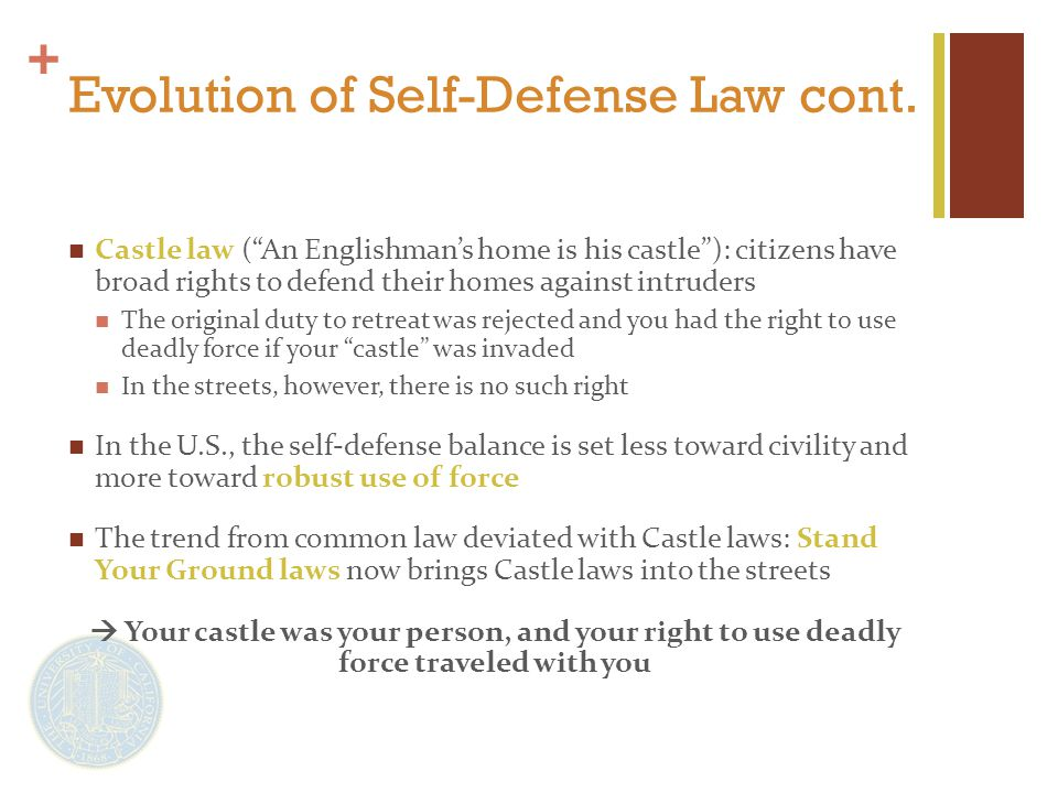 + Evolution of Self-Defense Law cont.