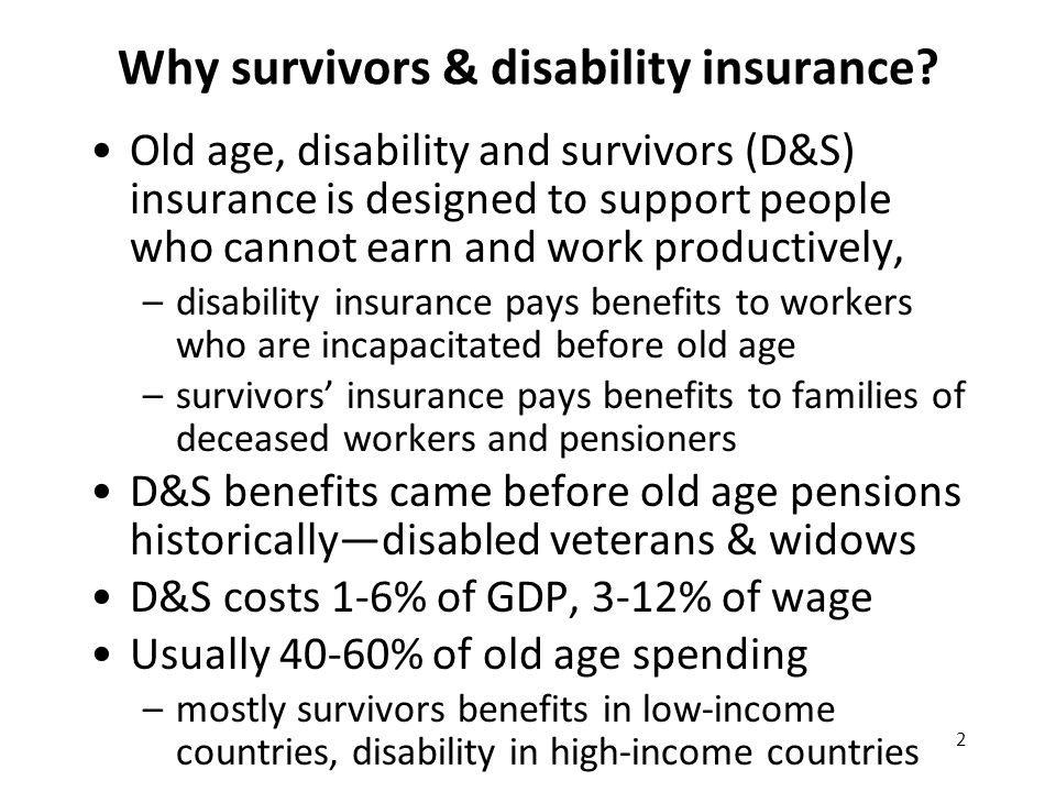 2 Why survivors & disability insurance.