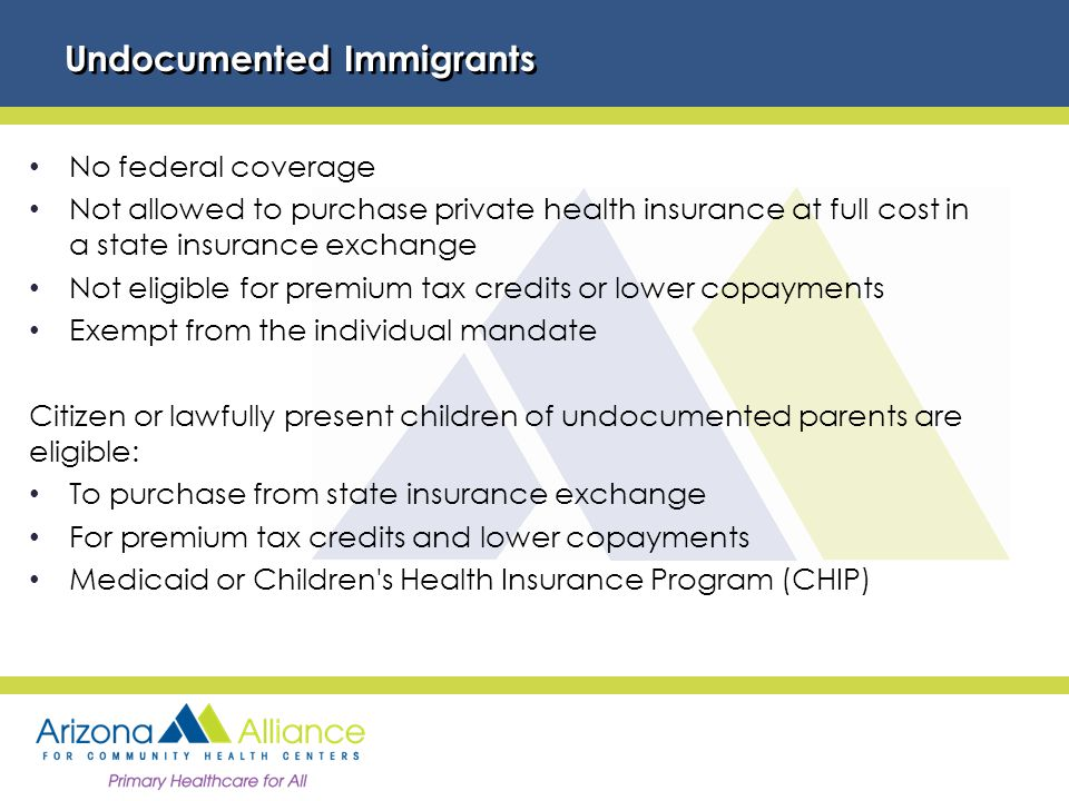 Undocumented Immigrants No federal coverage Not allowed to purchase private health insurance at full cost in a state insurance exchange Not eligible for premium tax credits or lower copayments Exempt from the individual mandate Citizen or lawfully present children of undocumented parents are eligible: To purchase from state insurance exchange For premium tax credits and lower copayments Medicaid or Children s Health Insurance Program (CHIP)