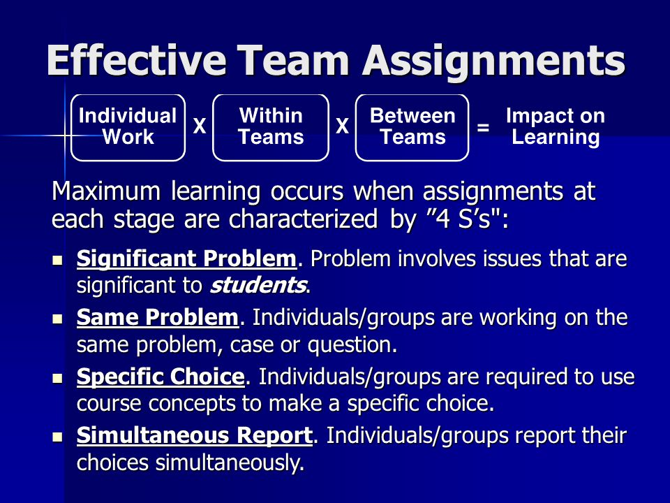 "Effective Team Assignments Maximum learning occurs when assignments at each stage are characterized by ""4 S's"