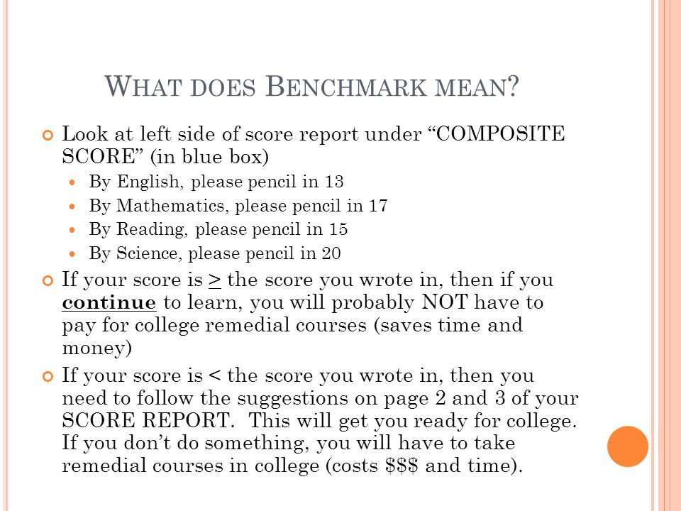 """W HAT DOES B ENCHMARK MEAN ? Look at left side of score report under """"COMPOSITE SCORE"""" (in blue box) By English, please pencil in 13 By Mathematics, p"""