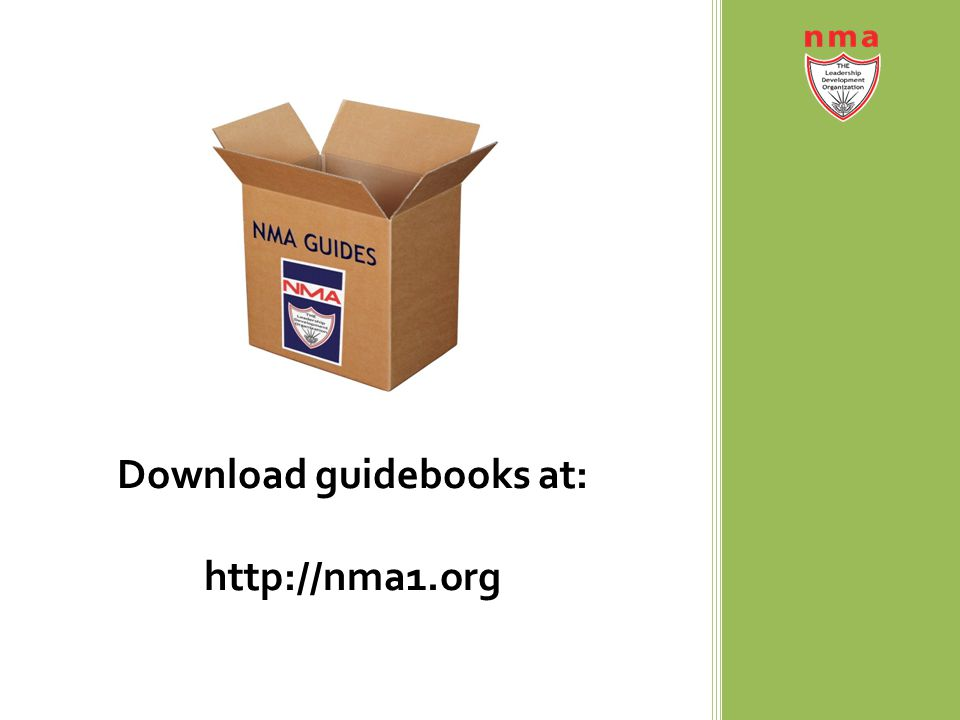 Download guidebooks at: http://nma1.org