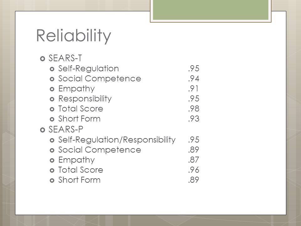 Reliability  SEARS-T  Self-Regulation.95  Social Competence.94  Empathy.91  Responsibility.95  Total Score.98  Short Form.93  SEARS-P  Self-R