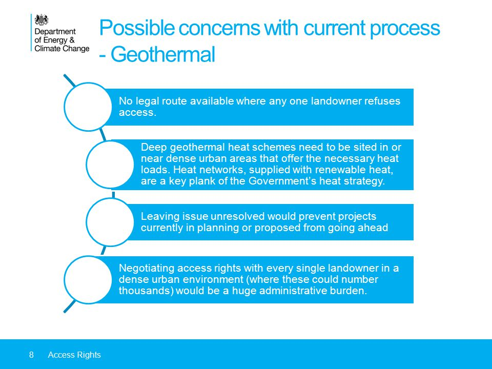 8Access Rights Possible concerns with current process - Geothermal No legal route available where any one landowner refuses access.