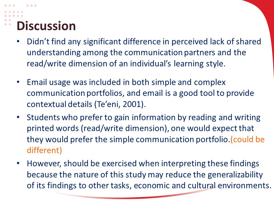Discussion Didn't find any significant difference in perceived lack of shared understanding among the communication partners and the read/write dimension of an individual's learning style.