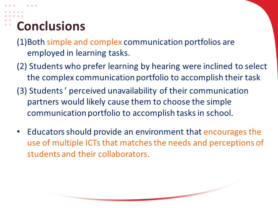 Conclusions (1)Both simple and complex communication portfolios are employed in learning tasks.